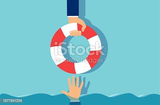 istock Cartoon businessman giving lifebuoy to partner 1077341224