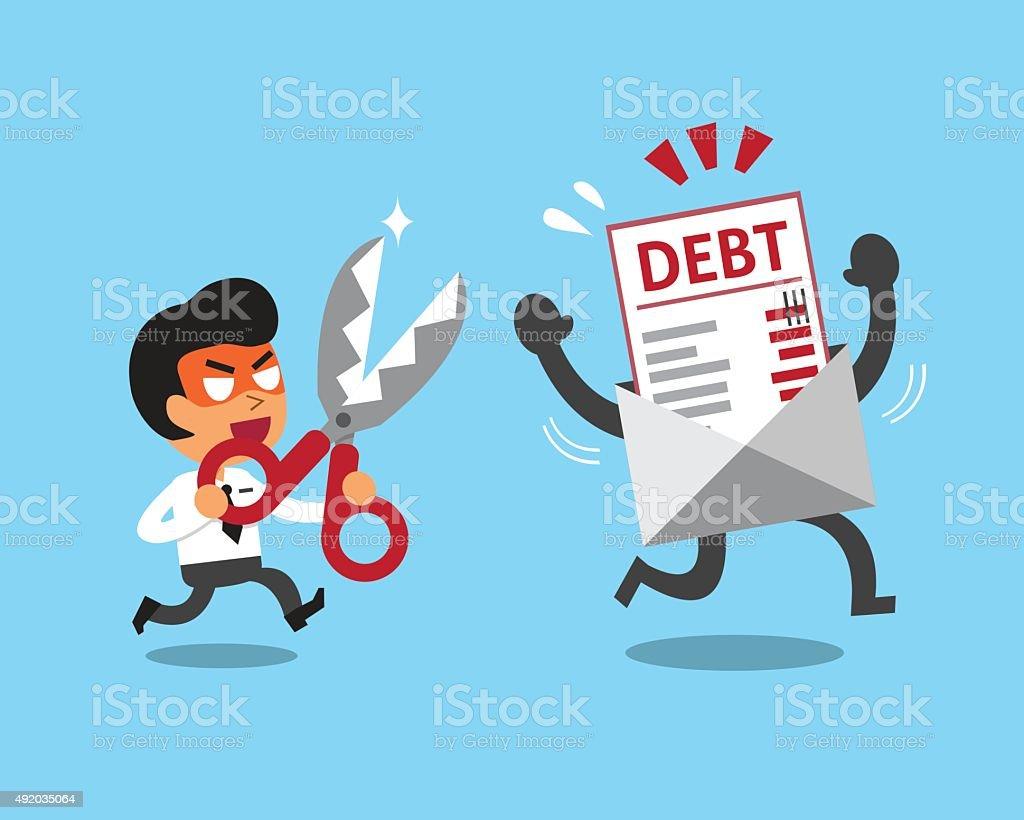 Cartoon businessman holding scissors to cut debt letter vector art illustration