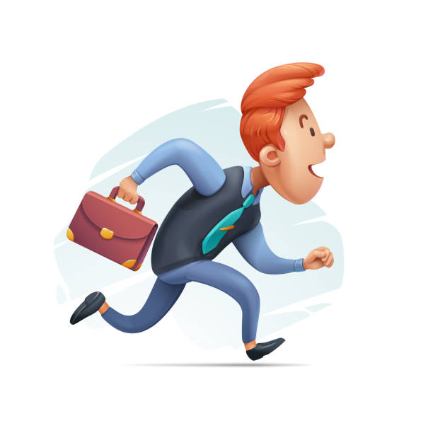 Cartoon Businessman in a Hurry vector art illustration