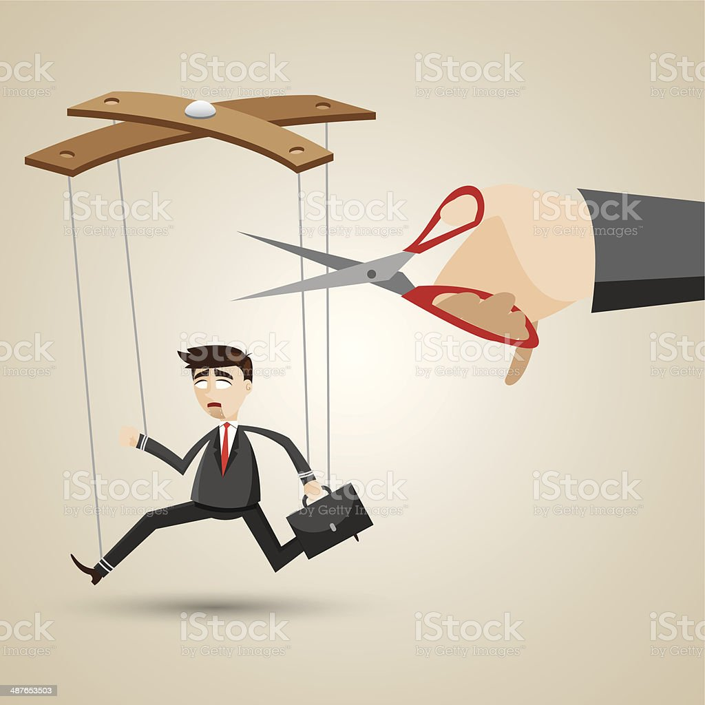 cartoon businessman in puppet style vector art illustration