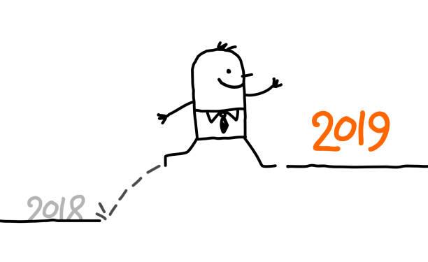 illustrations, cliparts, dessins animés et icônes de dessin animé, homme d'affaires en sautant à l'année 2019 - calendrier de l'avant