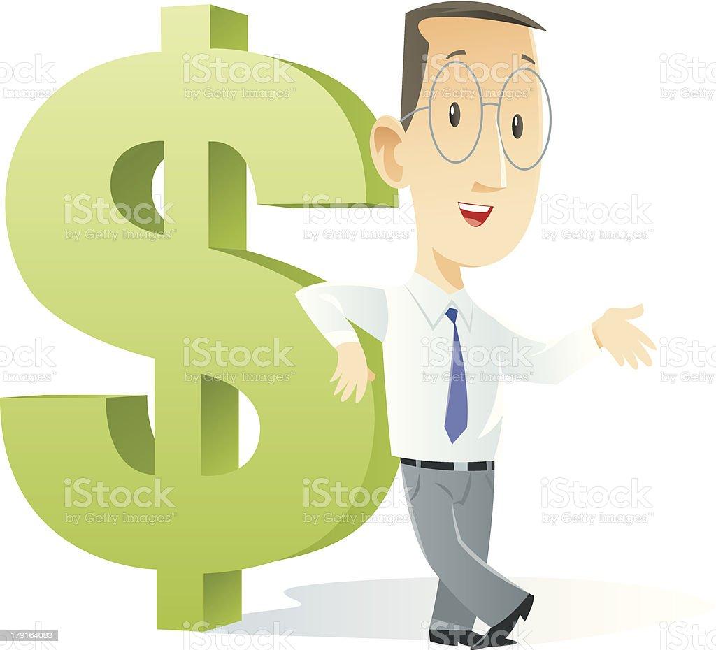 Cartoon businessman leaning against giant dollar sign royalty-free stock vector art