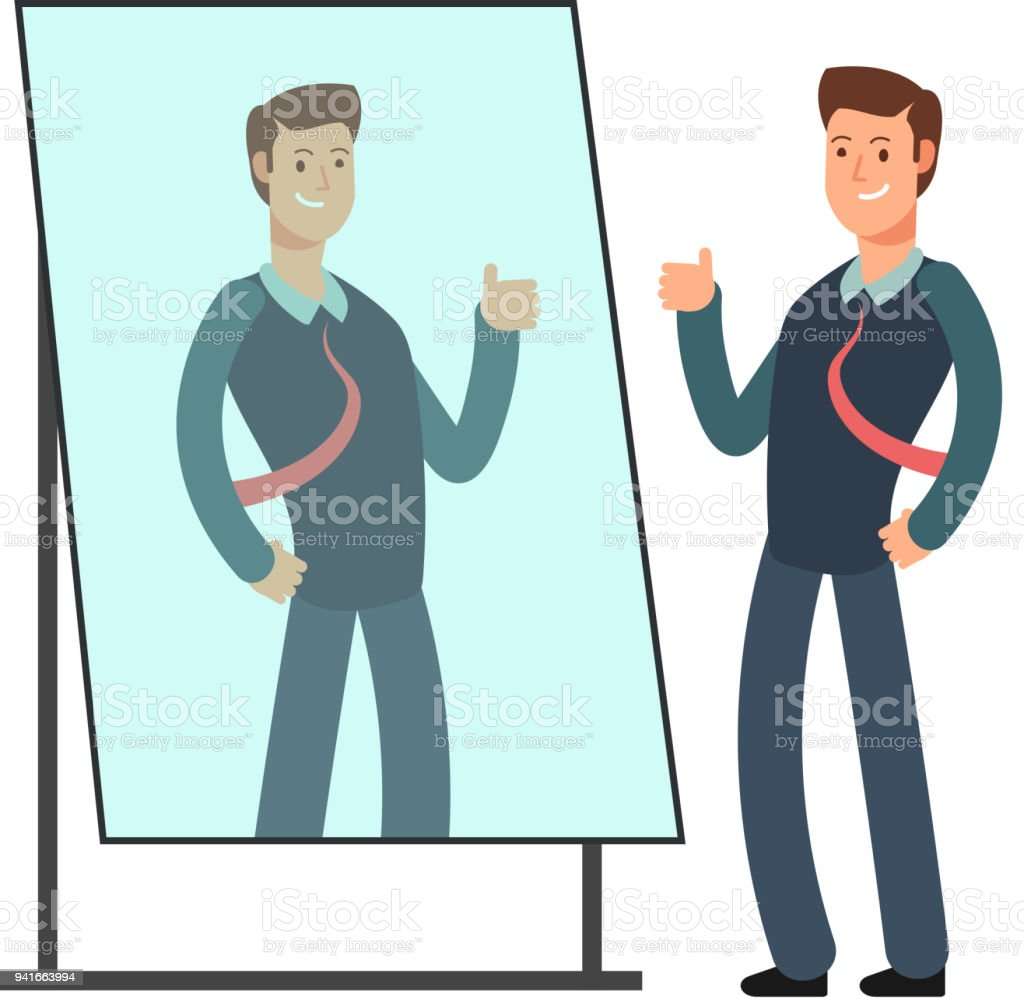 Cartoon businessman loves to look at his reflection in mirror. Egoistic person vector consept royalty-free cartoon businessman loves to look at his reflection in mirror egoistic person vector consept stock illustration - download image now