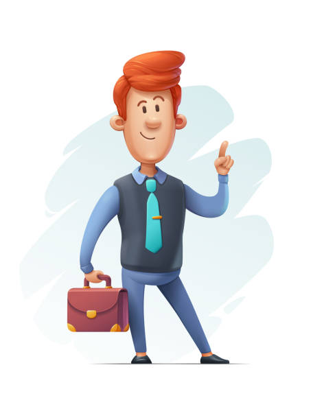 Cartoon Businessman Making Attention Gesture vector art illustration