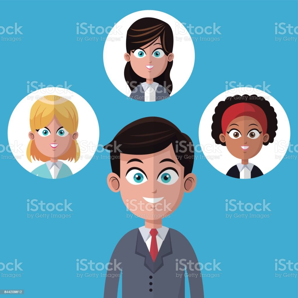 Cartoon Businessman Manager Office With Women Team Stock Illustration Download Image Now Istock