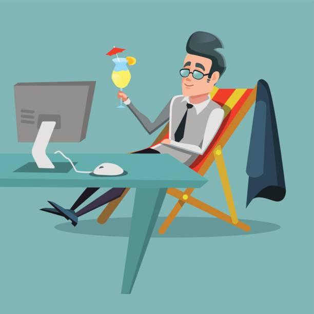 ilustrações de stock, clip art, desenhos animados e ícones de cartoon businessman relaxing with cocktail - enjoying wealthy life