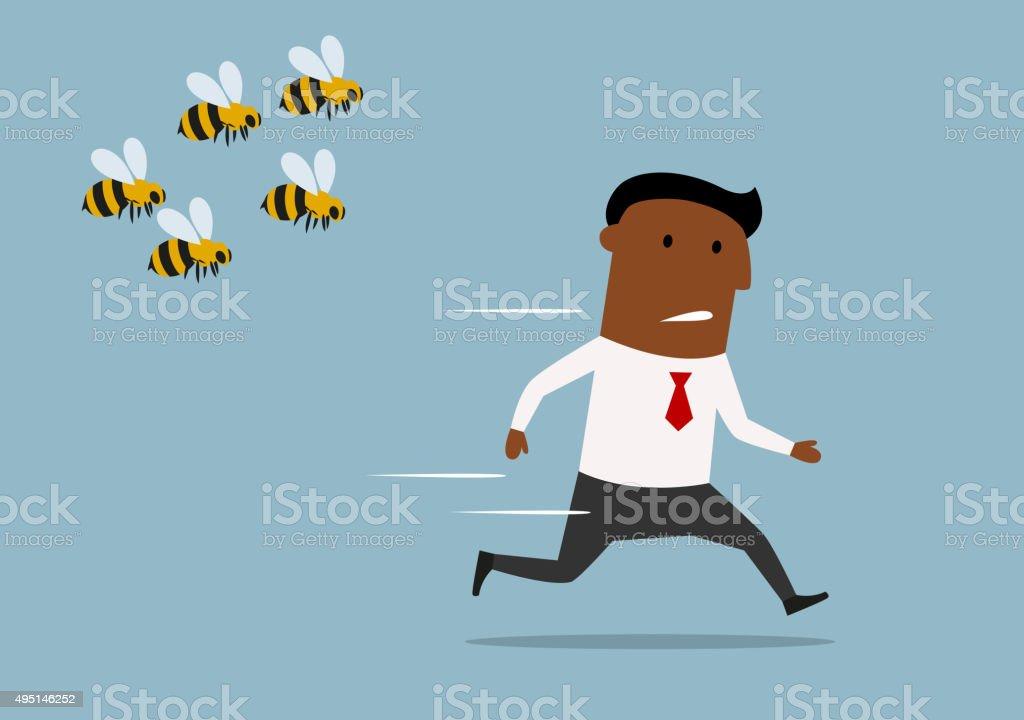 Cartoon businessman running away from bees vector art illustration