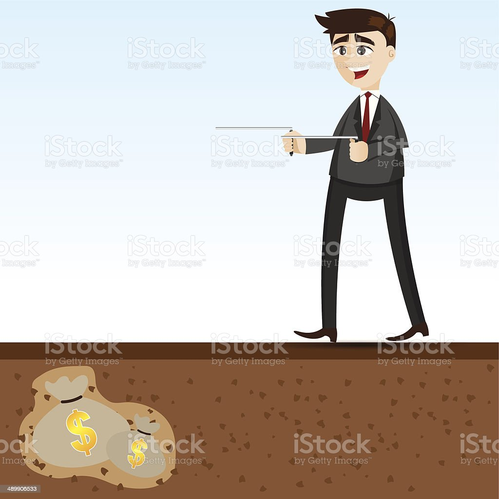 Cartoon Businessman Searching With Dowsing Rod Stock Vector
