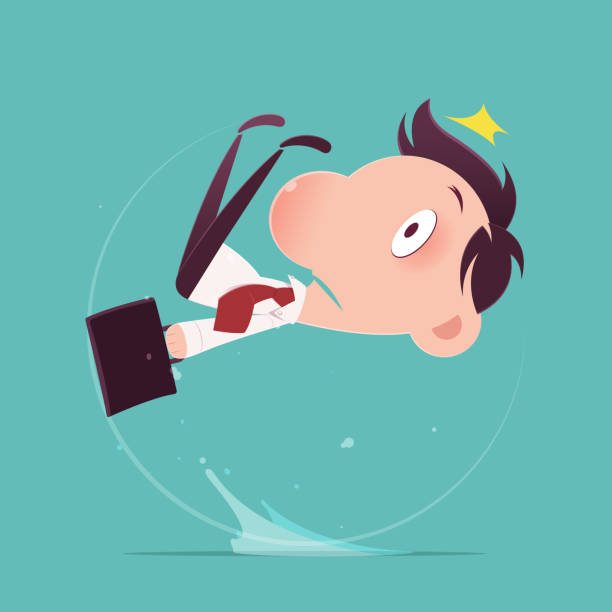 Cartoon businessman slipped on a water puddle , Illustration-Vector Cartoon businessman slipped on a water puddle , Illustration-Vector careless stock illustrations