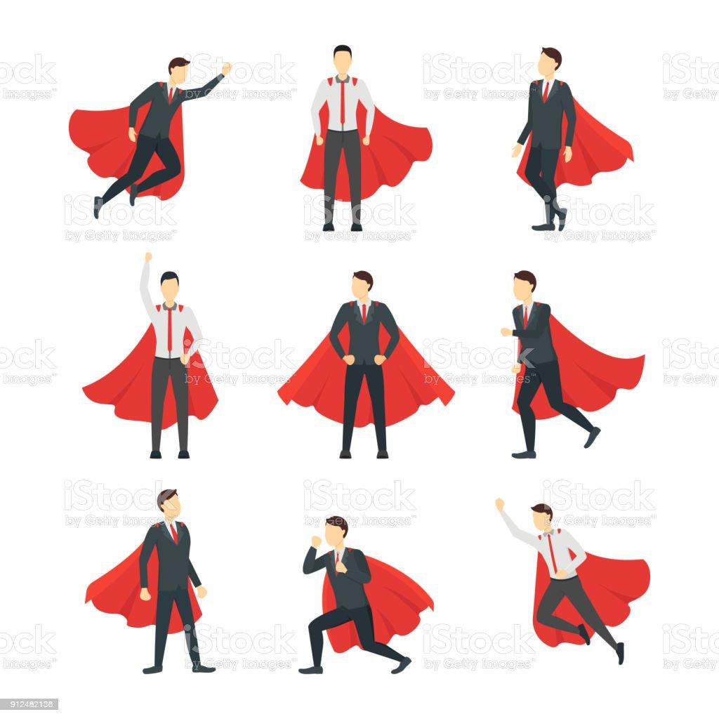 Cartoon Businessman Superhero Characters Icon Set. Vector vector art illustration