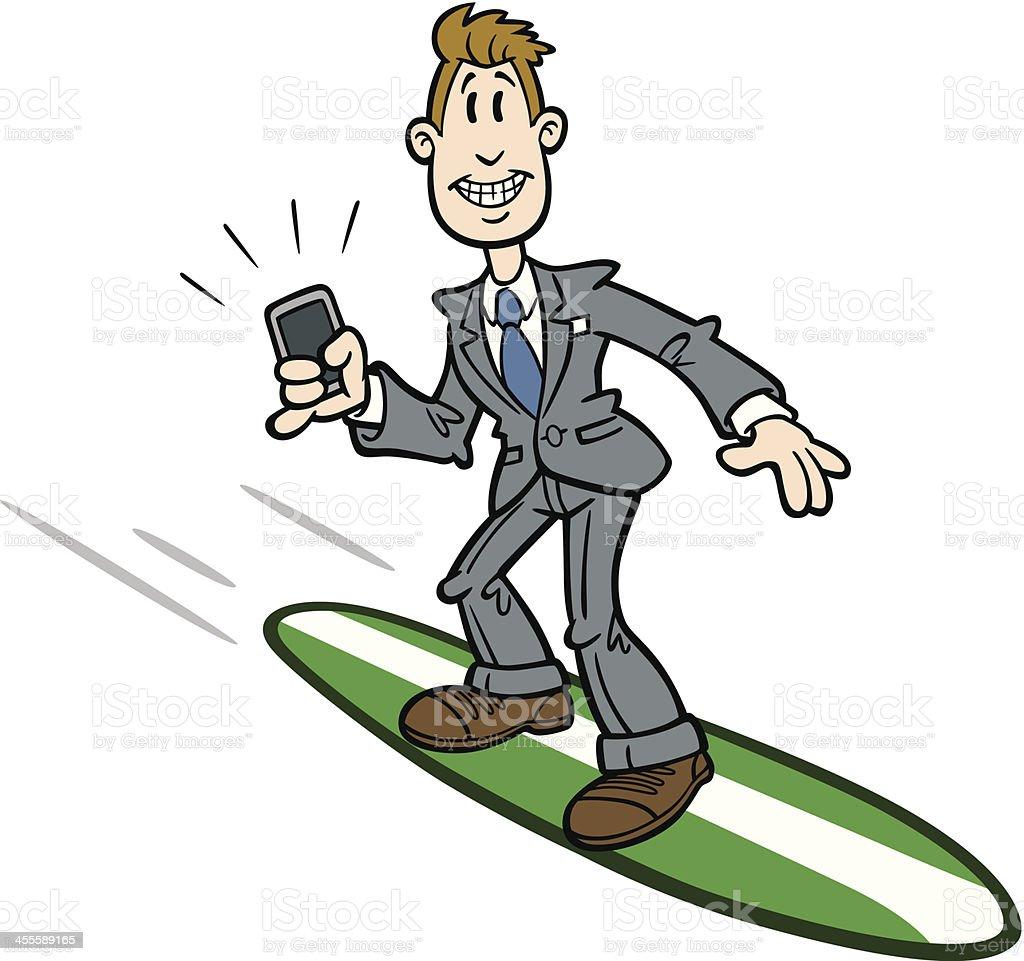 Cartoon Businessman Surfer vector art illustration