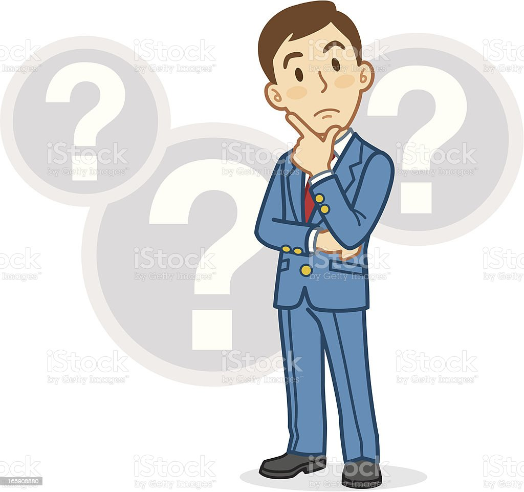 Cartoon businessman thinking with question mark bubbles vector art illustration
