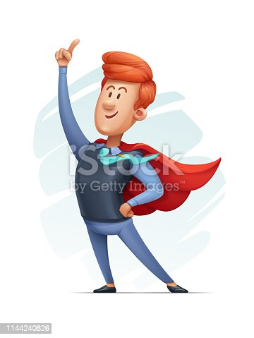 Vector Illustration of a Cartoon Manager Dressed as a Super Hero.