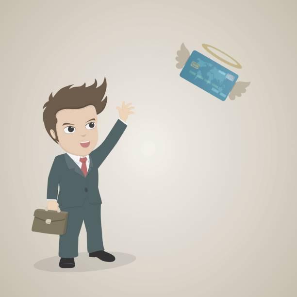 ilustrações, clipart, desenhos animados e ícones de empresário dos desenhos animados, tecelagem mão para adeus voando de cartão de crédito - desenhos aleatórios e à mão livre
