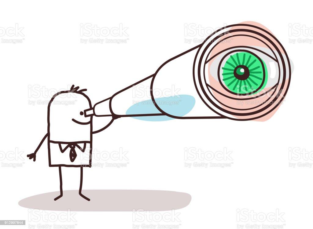 ilustração de empresário dos desenhos animados com olho grande
