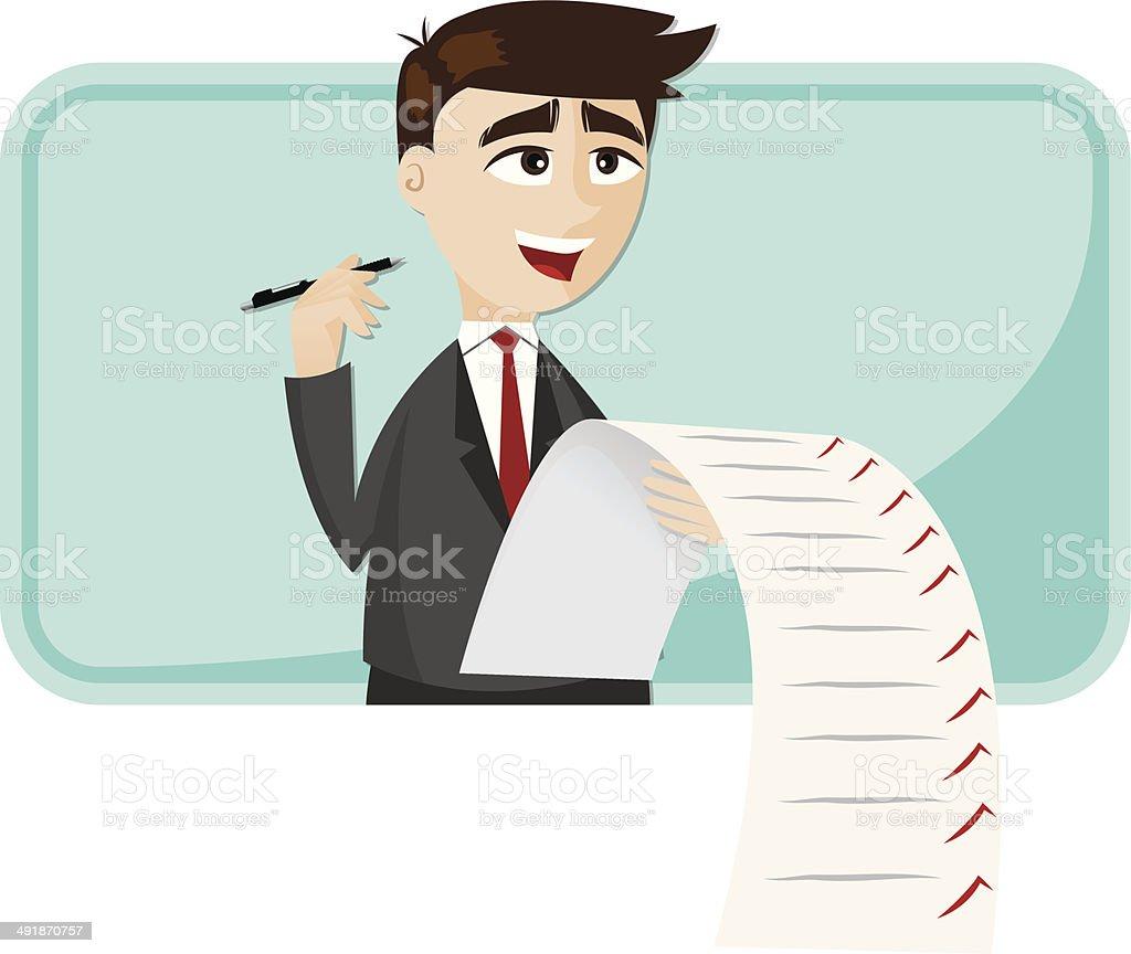 Empresario De Dibujos Animados Con Una Lista De Verificación De ...