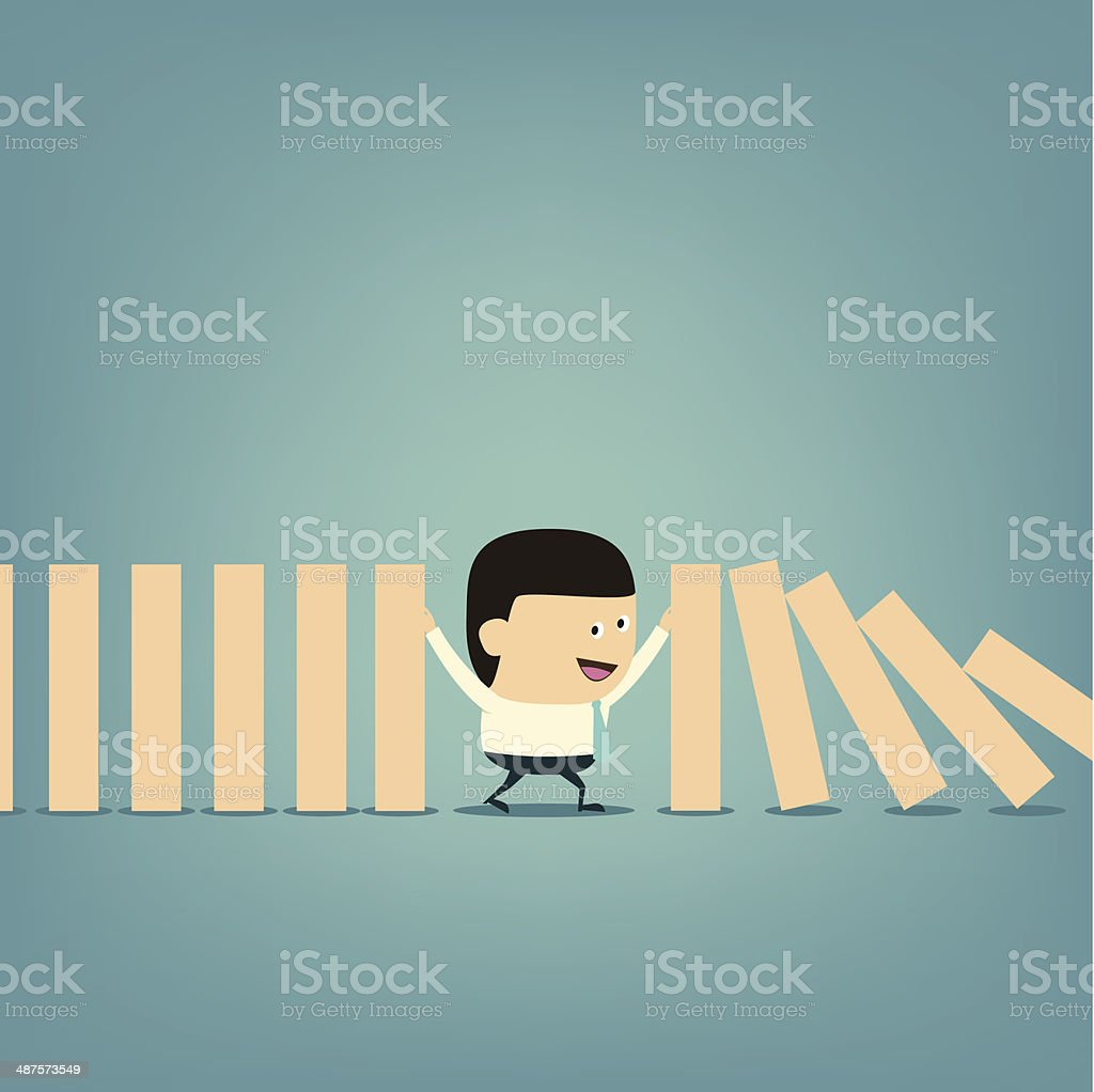 Cartoon Businessman with domino Business protect concept vector art illustration