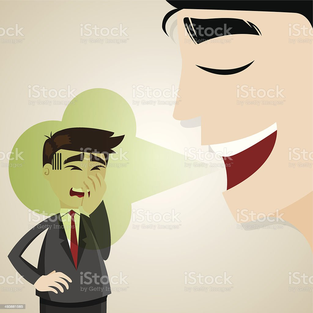 cartoon businessman with halitosis stinky vector art illustration