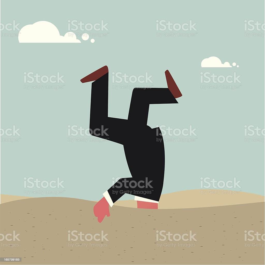 Cartoon businessman with head buried in the sand royalty-free stock vector art