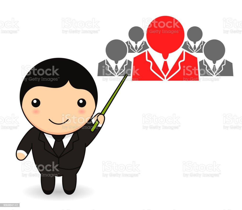 Ilustración De Empresario De Dibujos Animados Con Los Recursos
