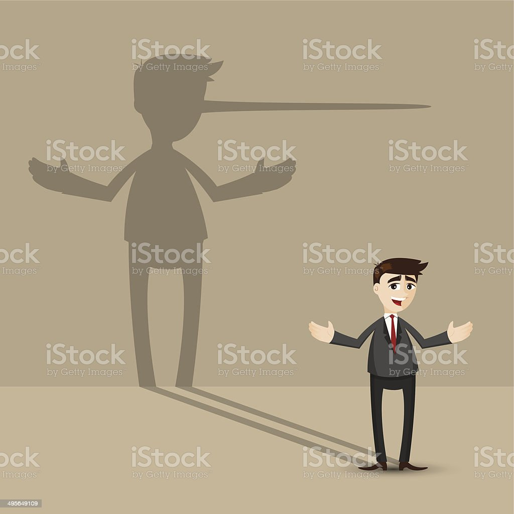 cartoon businessman with long nose shadow on wall vector art illustration