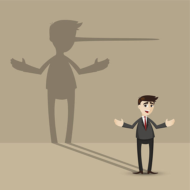 cartoon businessman with long nose shadow on wall illustration of cartoon businessman with long nose shadow on wall in lying concept dishonesty stock illustrations