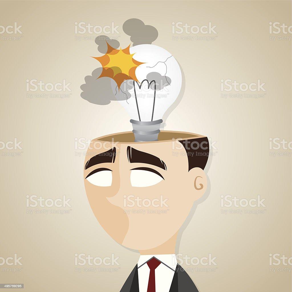 カットイラストショックを受けるアイデア電球ビジネスマン