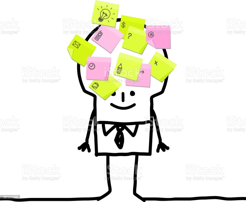 Cartoon businessman with sticky notes vector art illustration