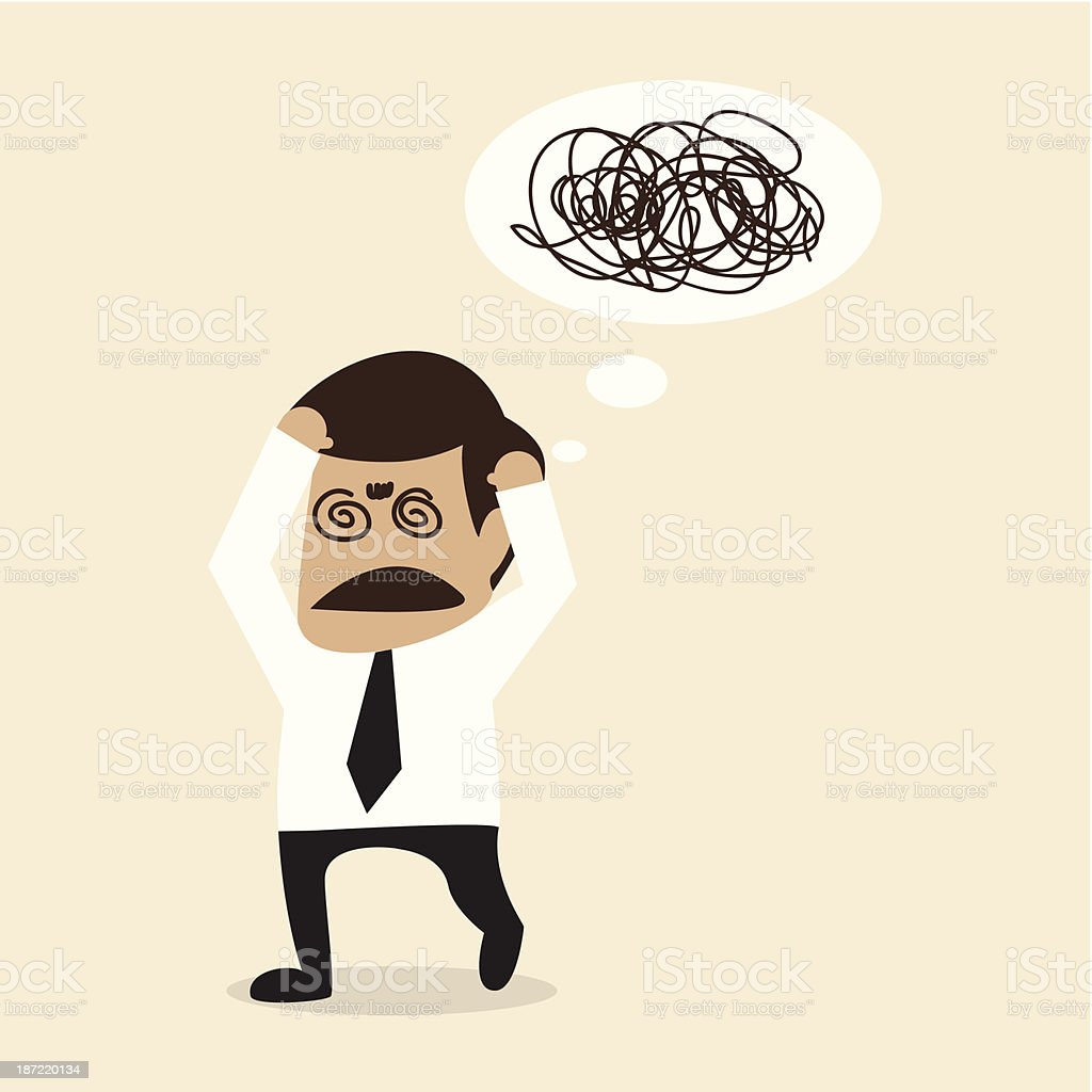 Cartoon businessman with thought bubble showing confusion royalty-free stock vector art