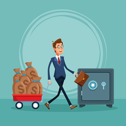 Cartoon Businessman With Trolley With Money Sacks And Strong Box Stock Illustration Download Image Now Istock