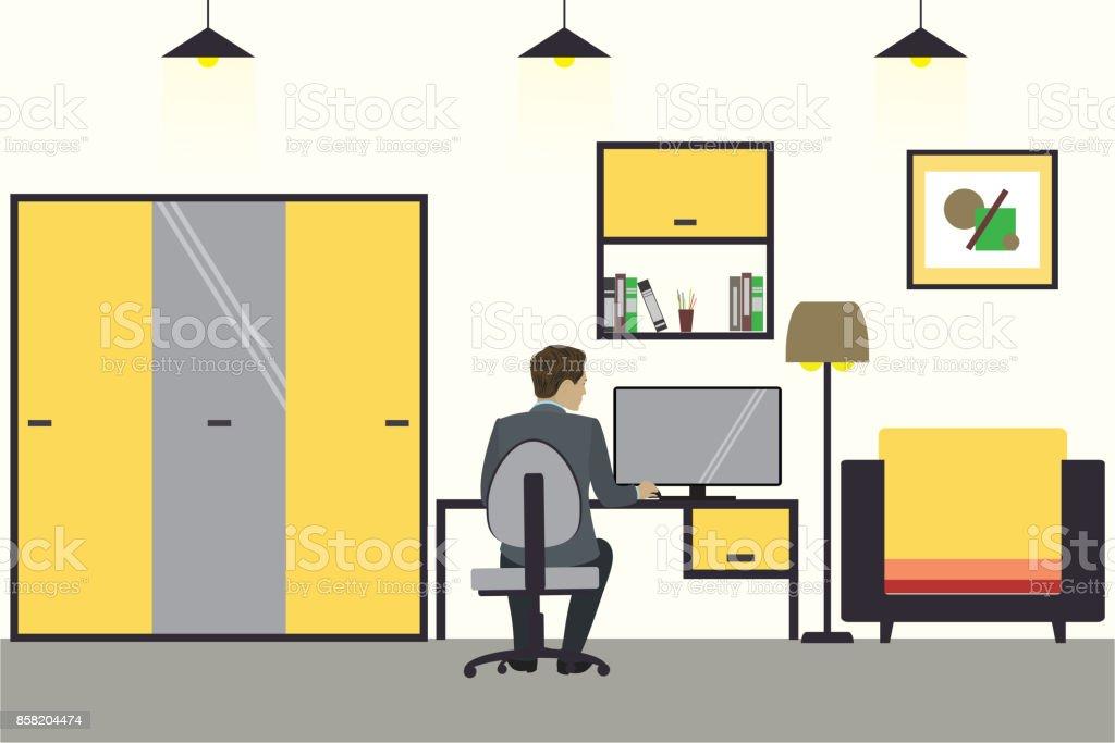 Ilustración De Empresario De Dibujos Animados Trabajando En Casa
