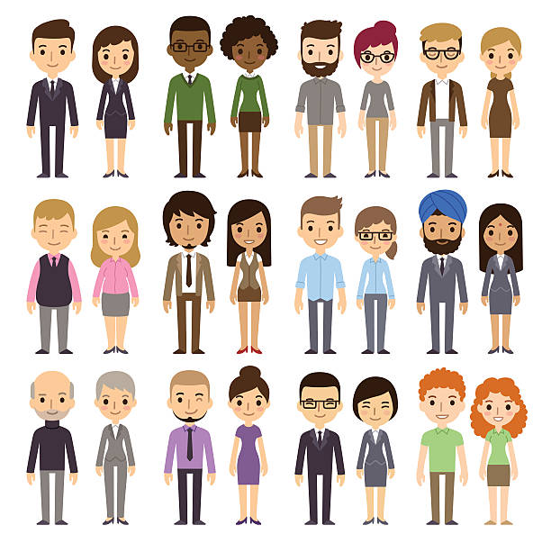 Cartoon Businesspeople Set of diverse business people isolated on white background. Different nationalities and dress styles. Cute and simple flat cartoon style. cartoon people stock illustrations