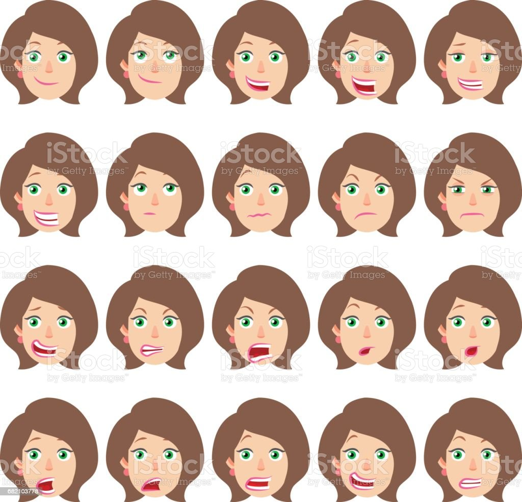 Cartoon Businesswoman Character. Different facial expressions vector art illustration