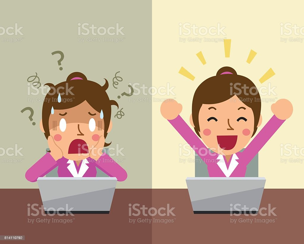 Cartoon businesswoman expressing different emotions vector art illustration