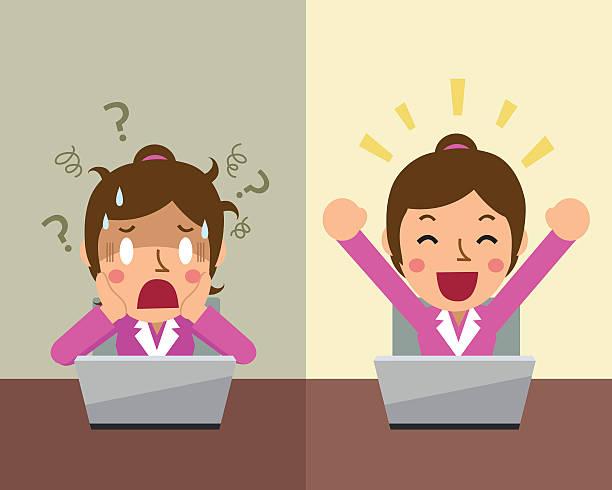 ilustrações de stock, clip art, desenhos animados e ícones de empresária mulher expressando emoções diferentes - deceção
