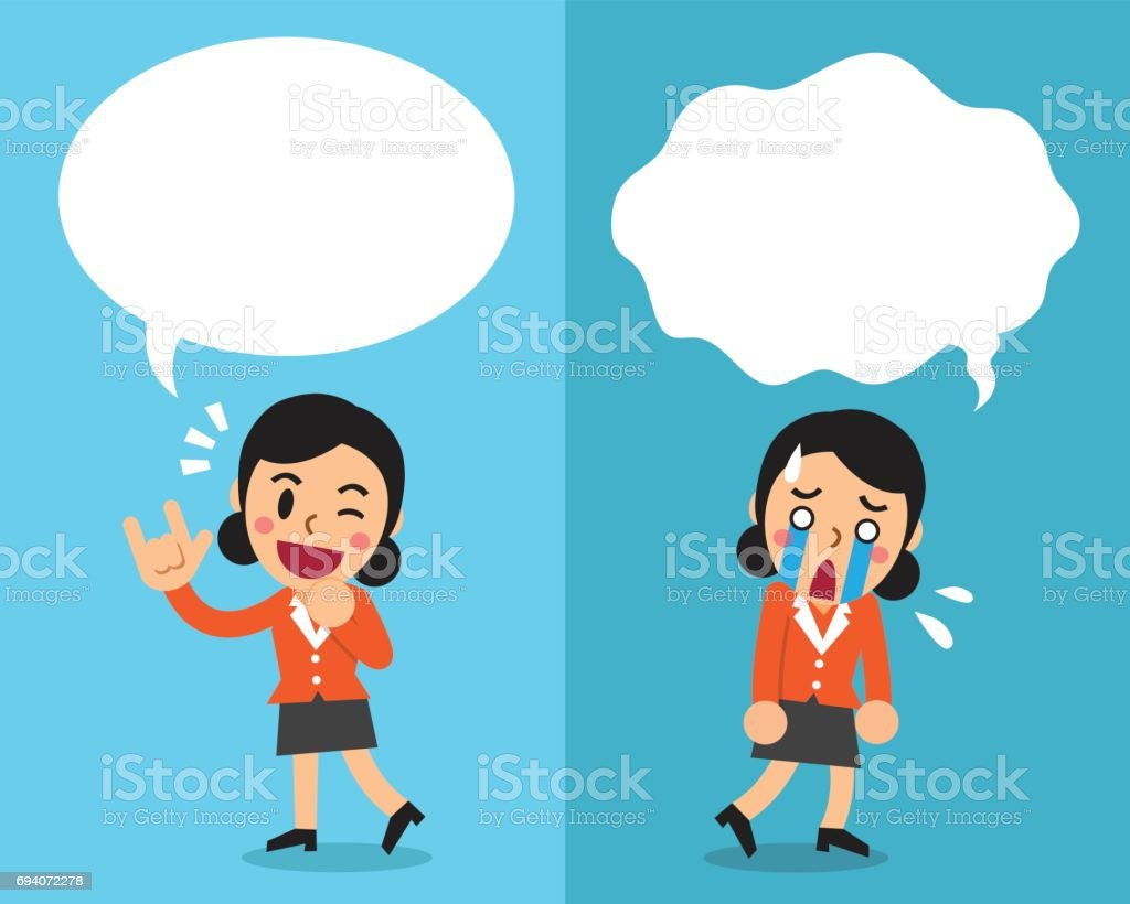 Cartoon businesswoman expressing different emotions with white speech bubbles vector art illustration