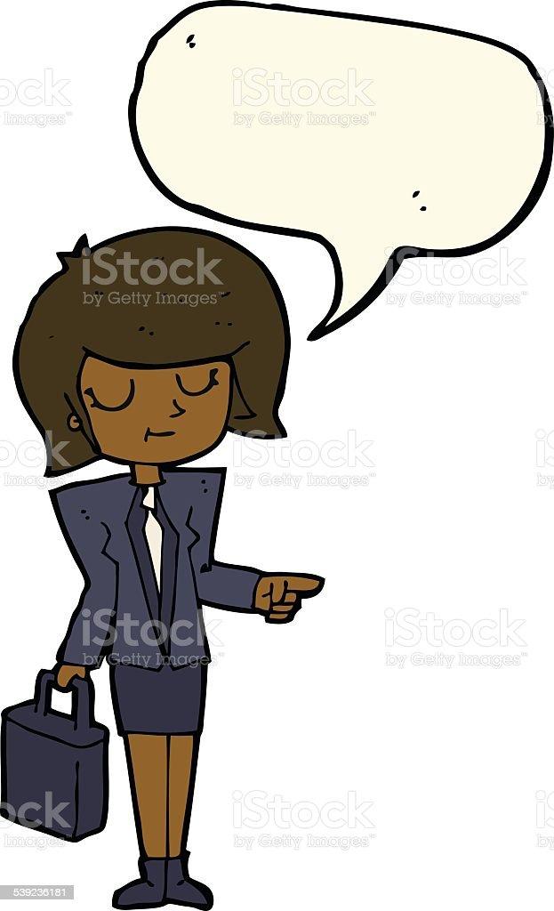 Empresaria de historieta señalando con burbuja de discurso ilustración de empresaria de historieta señalando con burbuja de discurso y más banco de imágenes de adulto libre de derechos