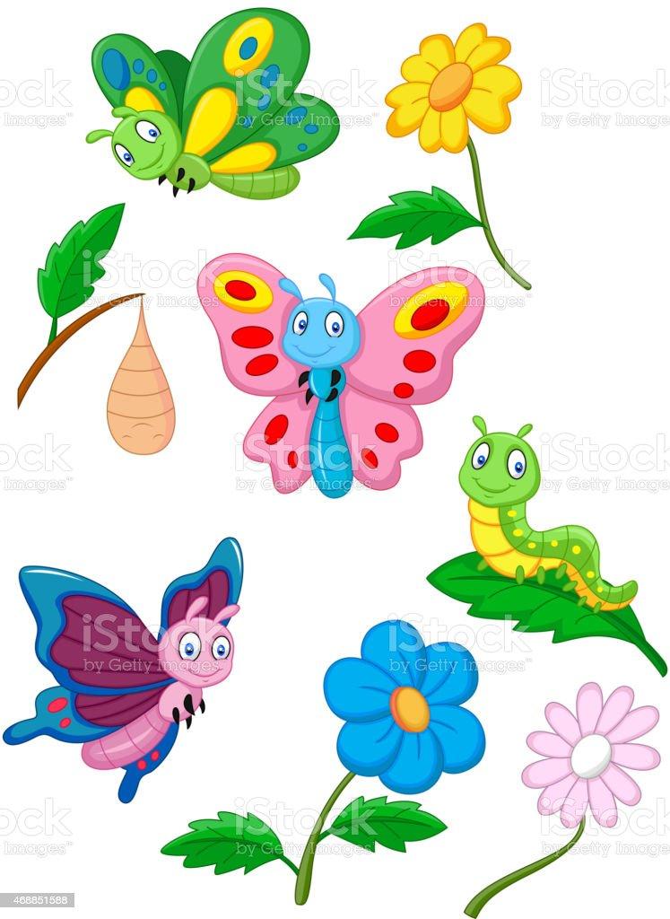 Cartoon Butterfly Caterpillar And Cocoon Stock Illustration
