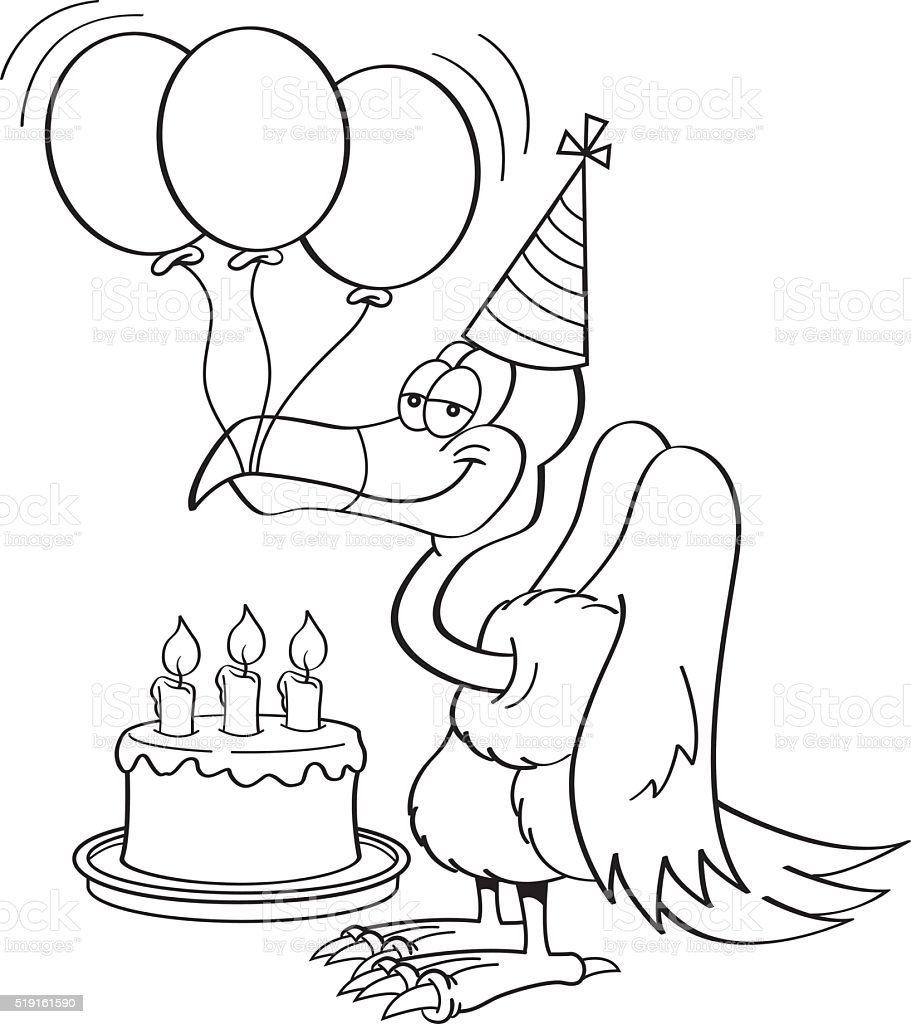 Cartoon buzzard with a birthday cake. Black and white illustration of a buzzard wearing a party hat with a birthday cake and balloons. Animal stock vector