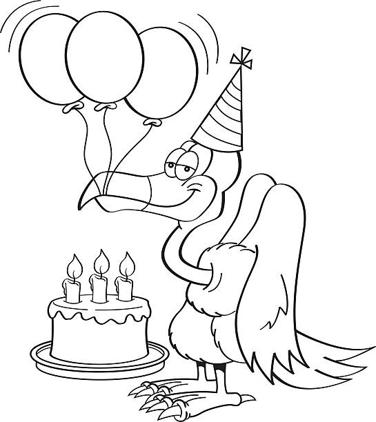 Cartoon buzzard with a birthday cake. Black and white illustration of a buzzard wearing a party hat with a birthday cake and balloons. cartoon of birthday cake outline stock illustrations