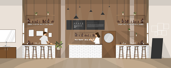 Cartoon cafe and reatuarant space interior design, family relationship vector element