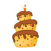 istock Cartoon cake illustration with candle. Happy birhday. 1187663738