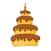 istock Cartoon cake illustration with candle. Happy birhday. 1187663792