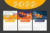 Cartoon Calendar 2022 year. Seasonal illustration with animals. Autumn background. September, October, November. Childish Organizer, vector planner