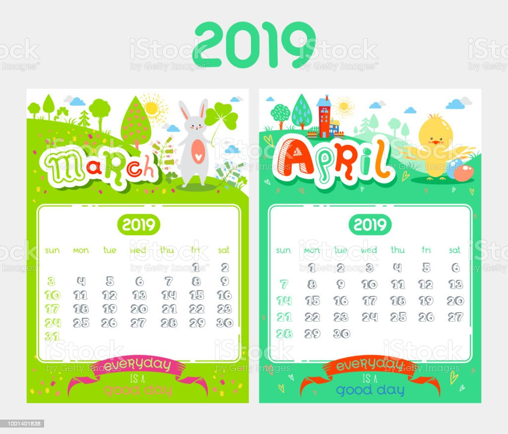 Calendario Dibujo 2019.Ilustracion De Dibujos Animados Diseno De Calendario Para El