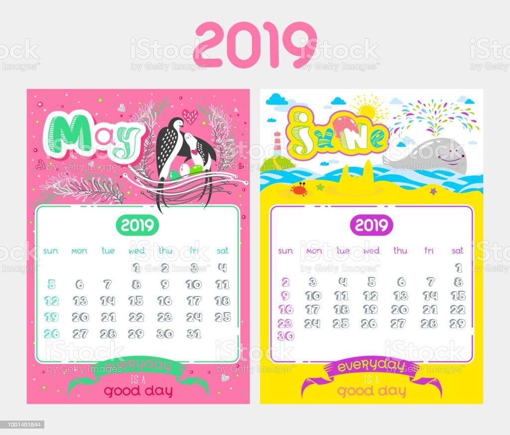Calendario Dibujo 2019.Ilustracion De Dibujos Animados Diseno De Calendario Para El Ano 2019 Y Mas Vectores Libres De Derechos De 2019