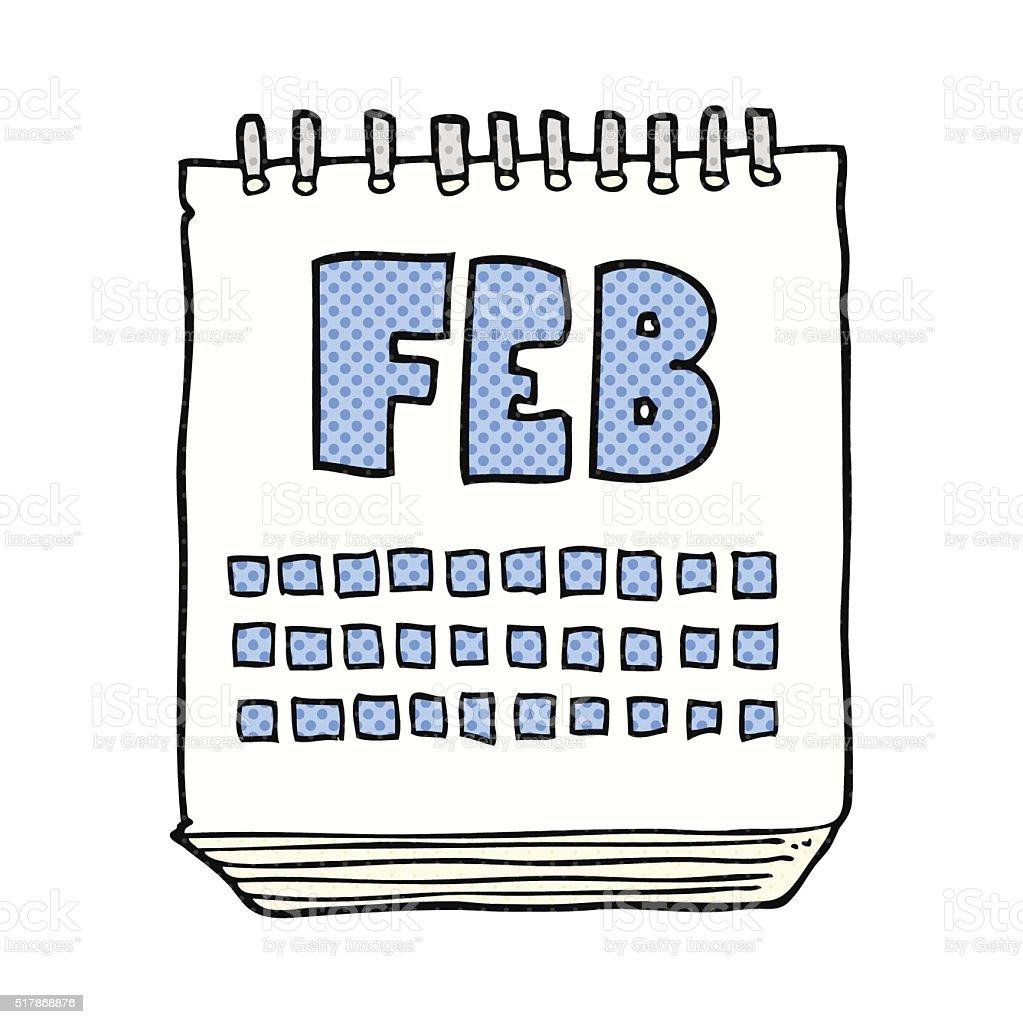 Vetores De Calendario Dos Desenhos Mostrando Mes De Fevereiro De E