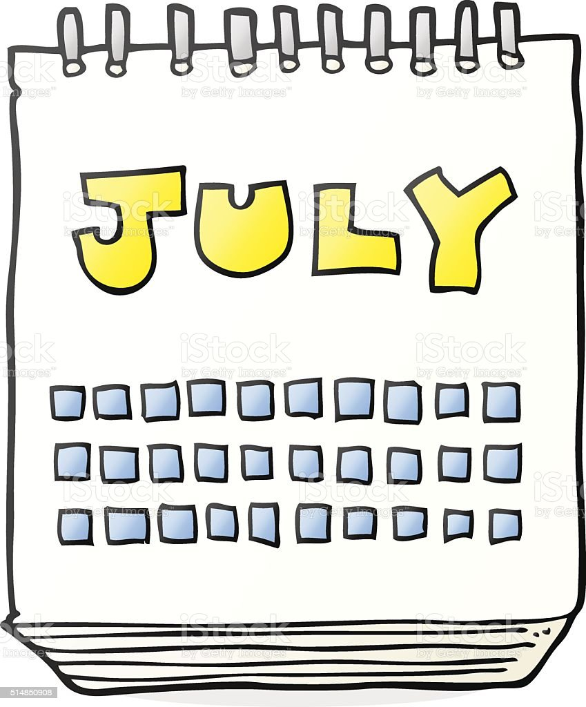 Clip Art Calendar July : Cartoon calendar showing month of july stock vector art