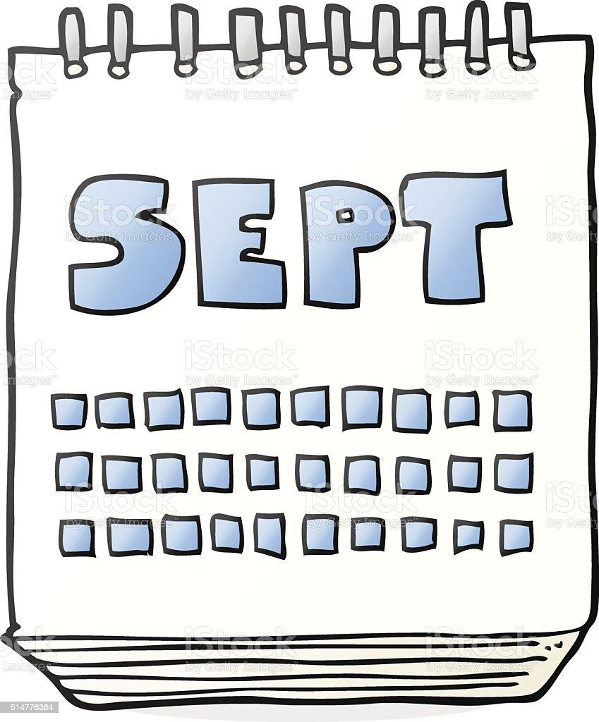 Calendario Dibujo Septiembre.Ilustracion De Historieta Calendario Que Muestra El Mes De