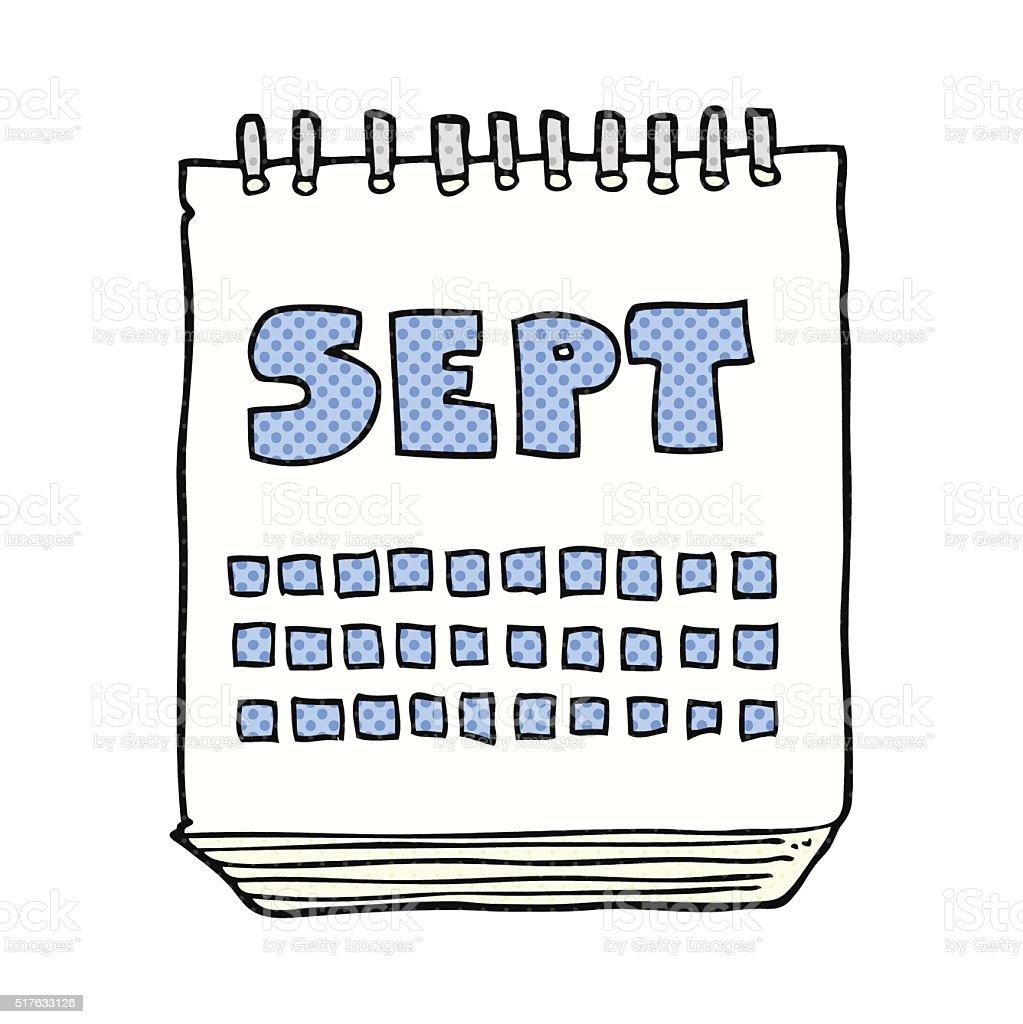 Illustration Calendrier.Cartoon Calendar Showing Month Of September Stock